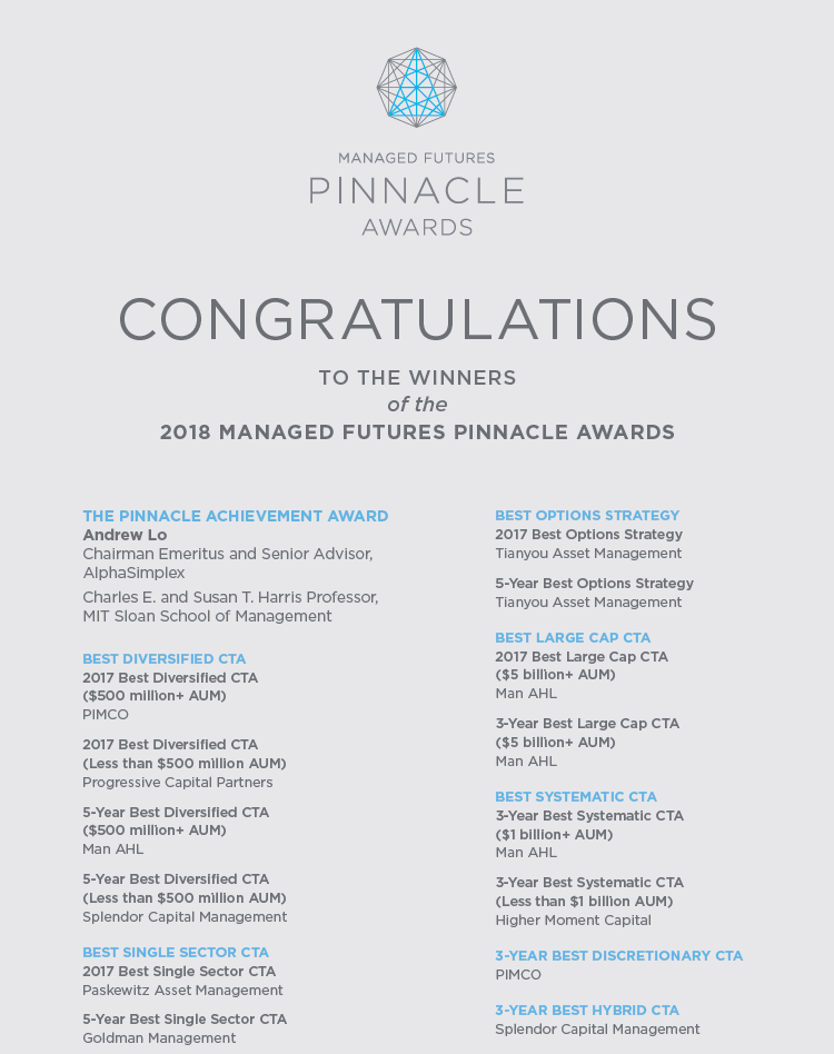 Managed Futures Pinnacle Award 2018